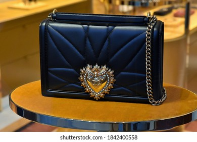 ROME OCTOBER 25 2020 BAG ON DISPLAY AT DOLCE&GABBANA BOUTIQUE IN SPAGNA SQUARE