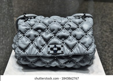 ROME OCTOBER 25 2020 BAG ON DISPLAY AT VALENTINO BOUTIQUE IN SPAGNA SQUARE