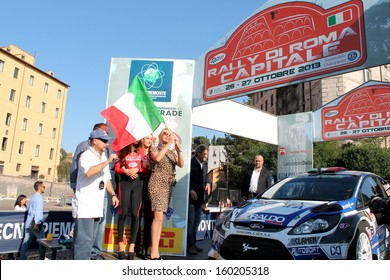 Rome - OCTOBER 26: 1st Rally capital of Rome.Anna Falchi starts the race.  Italy, 26 October 2013, Rome