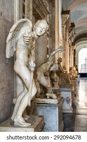 ROME - OCTOBER 3, 2012: Ancient statue in the Capitoline Museum, Italy. Famous Capitoline Museum is one of the best-known sights of Rome. Interior of Capitoline Museum with antique artifacts.