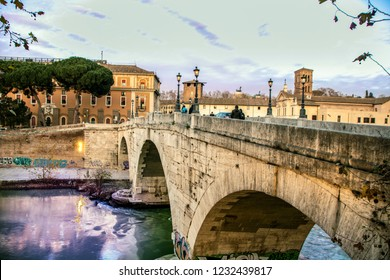 At Rome - On december 2017 - view of Tiber riverside in Rome and Tiburtina island
