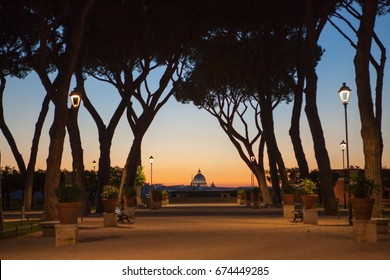 Rome Orange Garden Italian: Giardino degli Aranci.  Aventine Hill in Rome. Park in Rome at sunset. night in Rome