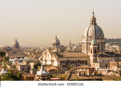 Rome overview with several domes, copy space