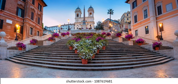 Rome. Panoramic cityscape image of Spanish Steps in Rome, Italy during sunrise.