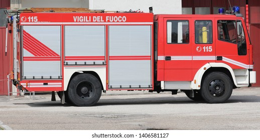 Rome, RM, Italy - May 23, 2019: red fire engine with text VIGILI DEL FUOCO that means Firemen in Italian Language