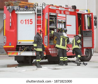 Rome, RM, Italy - May 30, 2019: Italian firefighters with the fire truck during an emergency