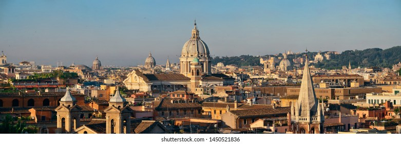 Rome rooftop view with ancient architecture in Italy panorama.