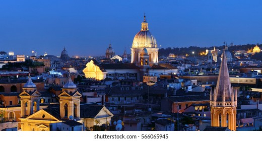 Rome rooftop view with skyline and ancient architecture in Italy at night.