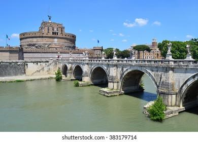 Rome. Sant'Angelo Bridge in a sunny summer day