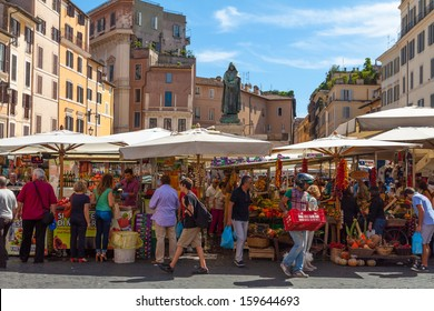 Rome - SEP 21: Campo de 'Fiori, September 21,2013 in Rome, Italy. Field of Flowers is one of the main squares of Rome, lively both day, market, and at night, when the terraces are filled with tourists