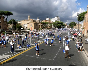 ROME - SEPT 26: via dei Fori Imperiali children played volleyball, an event organized to promote the World Cup finals in volleyball held in Rome from 4 October. 26 Sept 2010, Rome, Italy