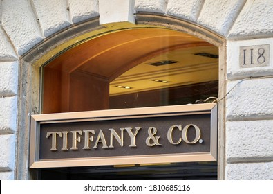 ROME - SEPT. 5, 2020: A Tiffany Store in Via del Babuino, near the Famous Spanish Steps of Piazza di Spagna. LVMH's Planned Takeover of Tiffany Was Scrapped as US Threat of Tariffs on French Products