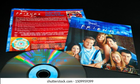 Rome, September 07, 2019: CD and artwork of video CD BEST OF FRIENDS. US sitcom created by David Crane and Marta Kauffman, broadcast on the American television network NBC from September 22nd 1994