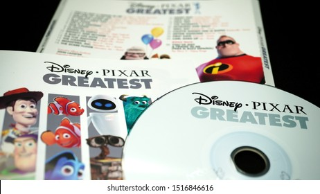 Rome, September 13, 2019: CD and artwork of the soundtracks of PIXAR films (DISNEY). Founded in 1986, it was the first film company to have developed a feature film entirely in computer graphics