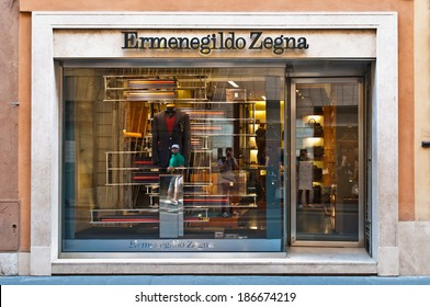 ROME - SEPTEMBER 18: Ermenegildo Zegna store window and entrance at Via dei Condotti in Rome, Italy on September 18, 2013. Founded in 1910 it is one of the biggest global producers of fine fabrics.