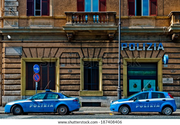 ROME - SEPTEMBER 21: Italian Police vehicles outside Piazza Cavour Station on September 21, 2013 in Rome, Italy. Italian Police is known for using only Italian made vehicles, Alfa Romeo and Fiat.