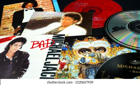 "Rome, September 30, 2019: CD covers of  the first four solo albums by MICHAEL JACKSON. an American singer, songwriter and dancer. Dubbed the ""King of Pop"""
