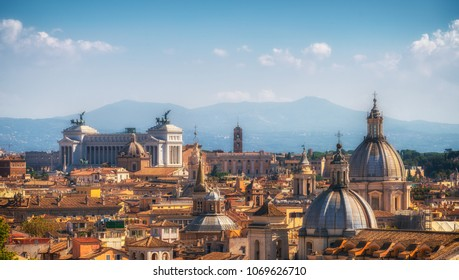 Rome skyline at the city center with panoramic view of famous landmark of Ancient Rome architecture, Italian culture and monuments. Historical Rome is the famous travel destination of Italy.