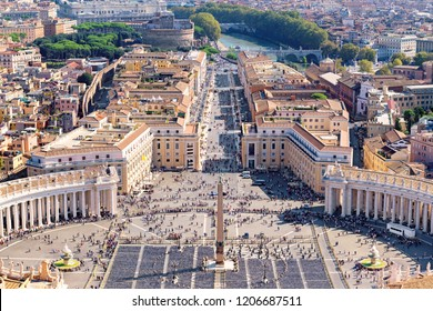Rome skyline, Italy. Aerial view of the famous Saint Peter's Square in Vatican and Rome city.