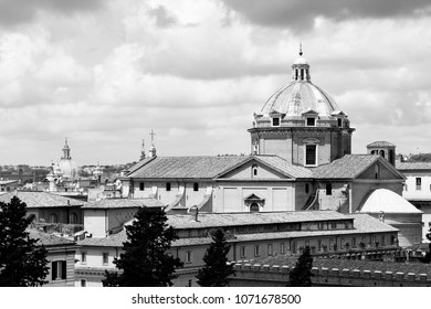 Rome skyline, Italy with prominent Gesu church. Black and white vintage style.