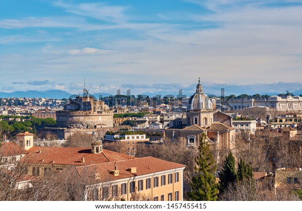Rome Skyline View Janiculum Terrace Terrazza Stock Photo