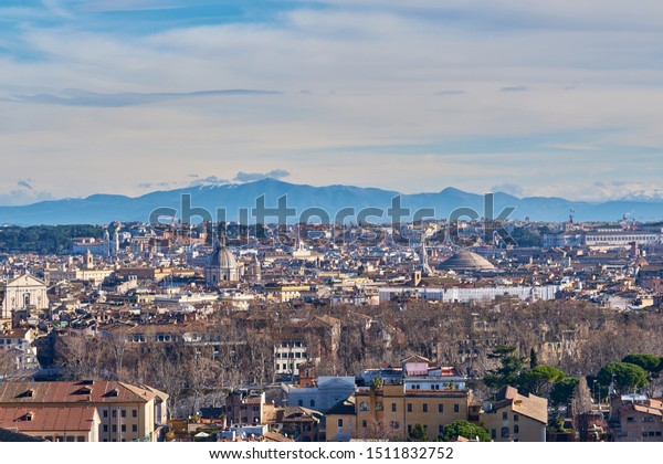 Rome Skyline View Janiculum Terrace Terrazza Stock Photo