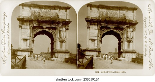 Rome, stereoview of the Triumphal Arch of Titus, Italy, Keystone View Company, ca 1897.