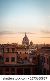 Rome sunset cityscape rooftop view