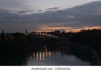Rome Tiber river and bridge of music Armando Trovajoli