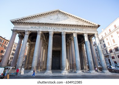 ROME : Tourists visit the Pantheon on June 28, 2015 in Rome, Italy. Pantheon is a famous monument of ancient Roman culture, the temple of all the gods, built in the 2nd century.