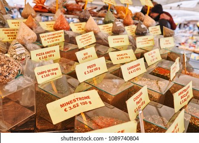 Rome, traditional outdoor food market of Campo de Fiori (fields of flower), spice stand