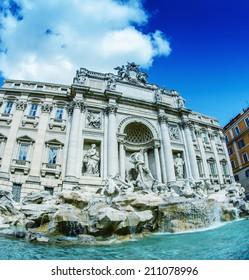 Rome. Trevi Fountain in summer season.