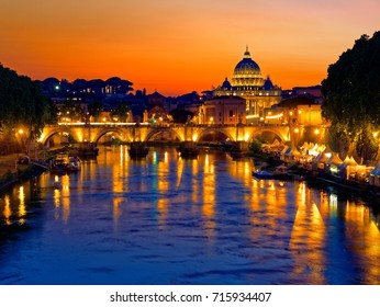 Rome twilight view of St. Peter dome, Tiber river and St. Angel bridge