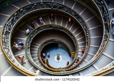Rome / Vatican — August 16, 2014: the famous circular spiral Bramante Staircase in the Vatican Museums (Musei Vaticani). These spiral stairs were designed by Giuseppe Momo in 1932