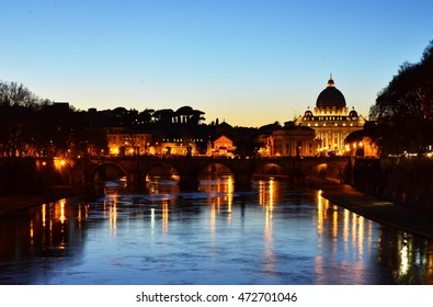 Rome, the Vatican view from Tiber river at dusk