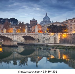 Rome. View of Vittorio Emanuele Bridge and the St. Peter's cathedral in Rome, Italy.