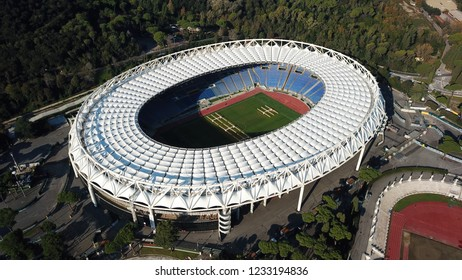 Rome, Vittoria / Rome - November 16 2018: Panoramic aerial drone view of the Olympic Stadium where the matches of Roma, Lazio, the Italian national team of soccer are played.