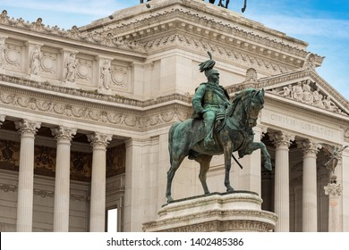 Rome - Vittoriano or Altare della Patria (Altar of the Fatherland) with the equestrian monument of Vittorio Emanuele II (1820-1878), first king of Italy. UNESCO world heritage site, Latium, Italy
