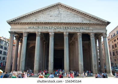 ROME-AUGUST 6: The Pantheon on August 6, 2013 in Rome, Italy. The Pantheon is a building in Rome, Italy to all the gods of ancient Rome rebuilt by the emperor Hadrian about 126 AD.