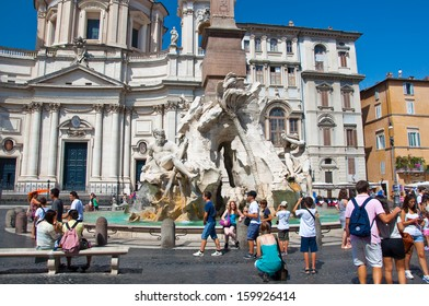 ROME-AUGUST 8: Fountain of the four Rivers with Egyptian obelisk on August 8, 2013 in Rome. Piazza Navona is a city square in Rome, Italy.