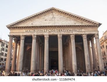 ROME,ITALIA-OCTOBER 15: Tourists at Pantheon Octubre 15, 2011 in Rome, Italy.    The Pantheon was commissioned by Marcus Agrippa as a temple to all the gods of Ancient Rome.
