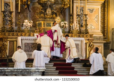 Rome-Italy - 7 September 2017 - celebration of the Holy Mass vetus ordo, Mass in Latin, in the days of the pilgrimage summorum pontificum decennial.