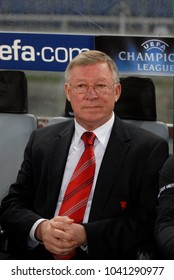 ROME-ITALY, APRIL 05, 2007: famous Manchester United coach Sir Alex Ferguson during the UEFA Champions League match, AS Roma vs Manchester United, at the Olympic stadium, in Rome.