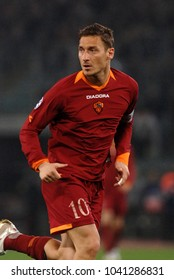 ROME-ITALY, APRIL 05, 2007: italian soccer  star, Francesco Totti, in action during the UEFA Champions League match, AS Roma vs Manchester United, at the Olympic stadium, in Rome.