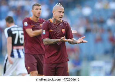 Rome,Italy - August 20, 2016: Nainggolan in action during football match serie A League 2016/2017 between As Roma VS Udinese  at the Olimpic Stadium on August 20, 2016 in Rome