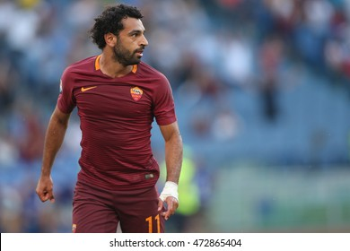 Rome,Italy - August 20, 2016:Mohamed Salah  in action during football match serie A League 2016/2017 between As Roma VS Udinese  at the Olimpic Stadium on August 20, 2016 in Rome.