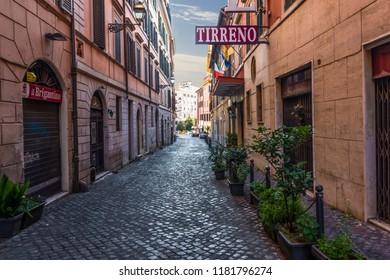 Rome/Italy - August 26, 2018: Italian Street Via di S. Martino Ai Monti, Tirreno Hotel Facade
