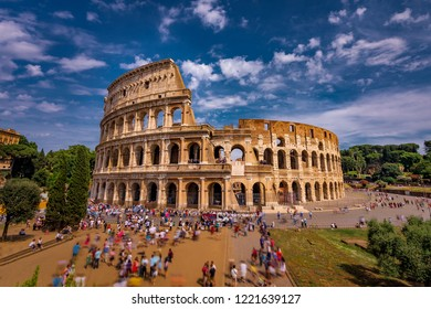 ROME,ITALY - JULY 17,2018 : Tourists Visiting The Colosseum in Rome Italy