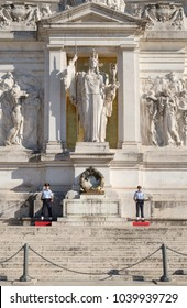 ROME,ITALY - JULY 18,2017 : Tomb to the unknown soldier at the National Monumento of Vittorio Emanuele II in Rome