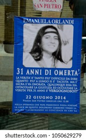 ROME.ITALY - JULY 21, 2014 : A poster to remember Emanuela Orlandi (born 14 January 1968) who was a citizen of Vatican City who mysteriously disappeared on 22 June 1983.